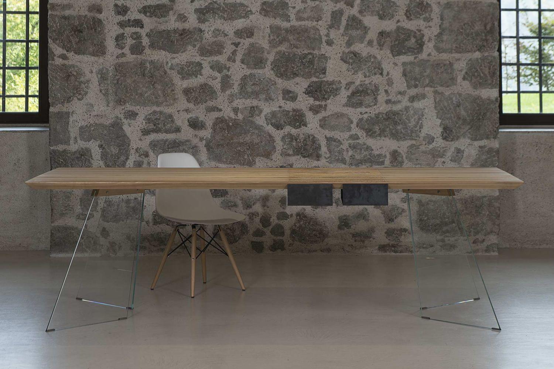 leonardo tisch mit glasgestell holzplatte 260x100 cm mit zwei schubladen aus br ulichem eisen. Black Bedroom Furniture Sets. Home Design Ideas