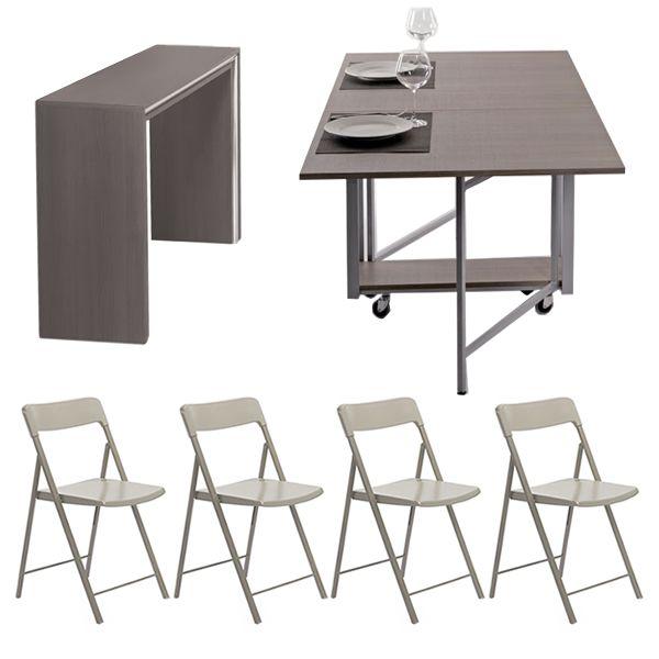 Archimede zeta set set consolle con tavolo pieghevole for Tavolo e sedie pieghevoli
