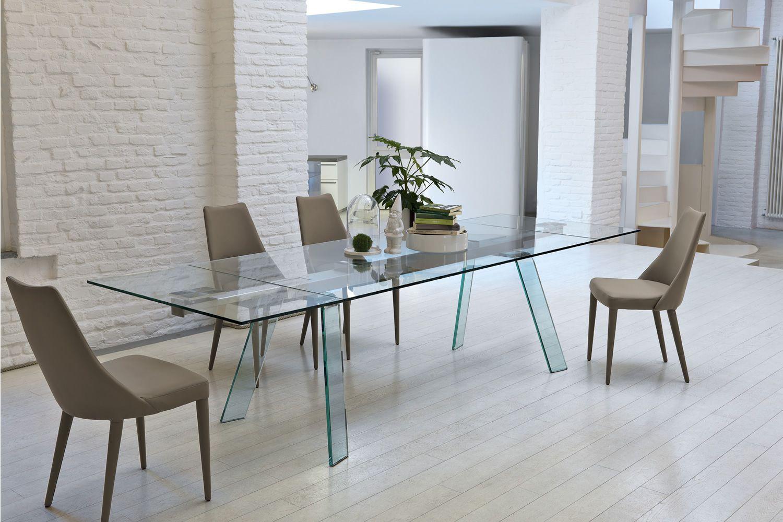 Toronto a tavolo midj con struttura in metallo vetro o for Tavolo allungabile e sedie