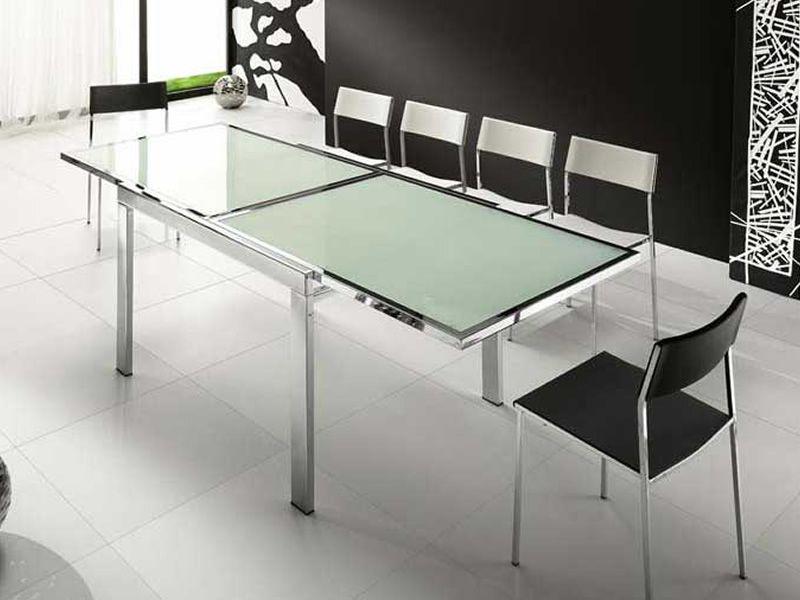 Vr120 tavolo allungabile in metallo con piano in vetro for Tavolo nero allungabile