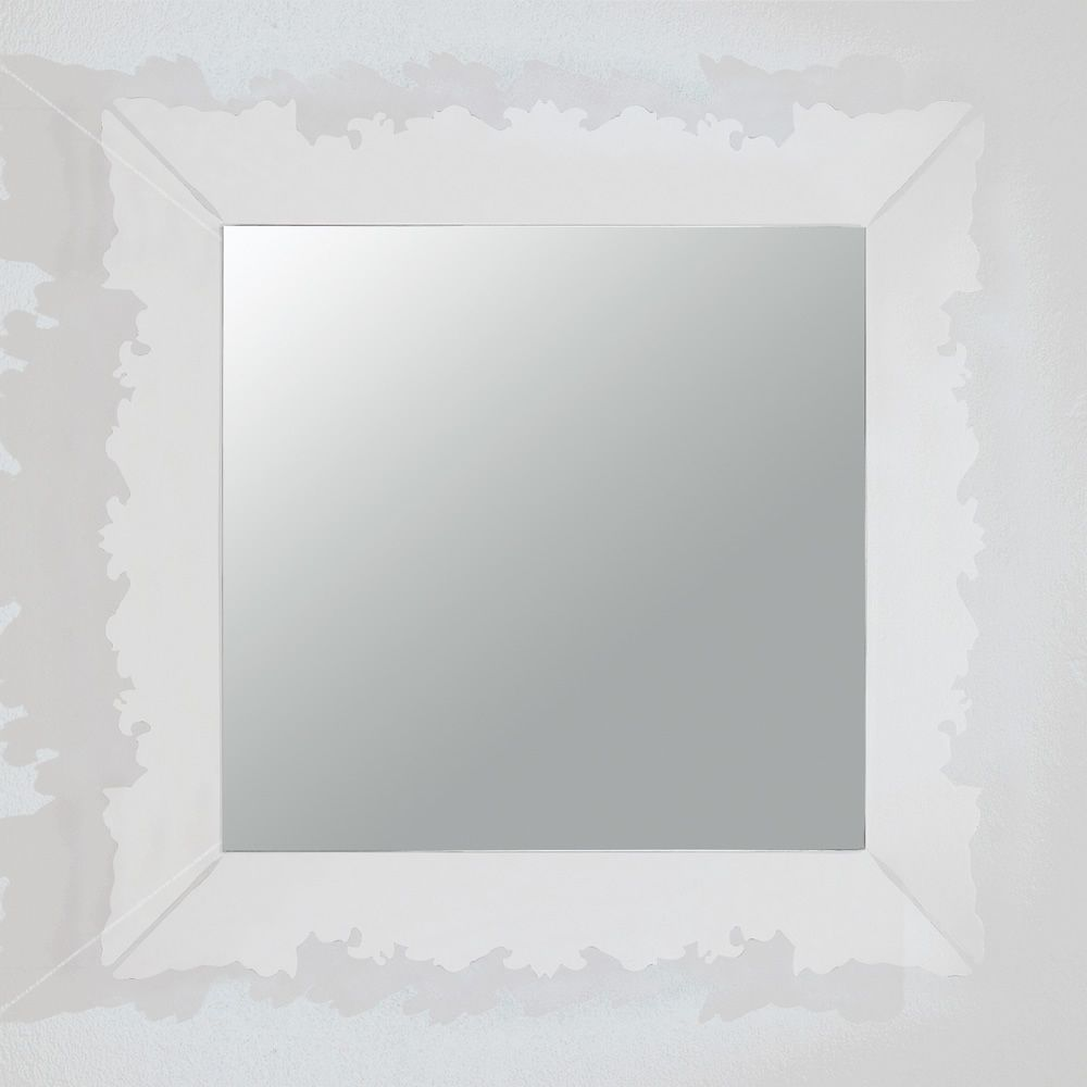 ... black methacrylate Novecento Q - Mirror with frame in transparent  methacrylate