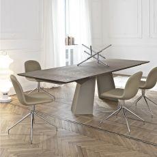 Fiandre Ext - Table design de Bontempi Casa, 160(240)x90 cm à rallonges, comportant un piétement en métal et un plateau en bois, verre ou céramique, disponible en différentes couleurs et dimensions