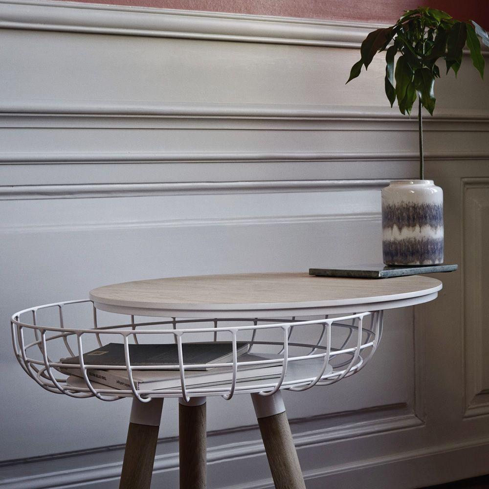 cesta beistelltisch aus holz und metall holzplatte mit beh lter in verschiedenen gr en. Black Bedroom Furniture Sets. Home Design Ideas