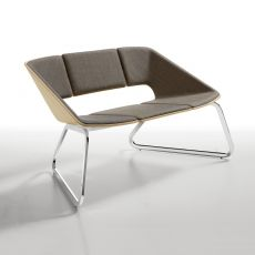Hug Sofa - Divano Infiniti in metallo, seduta e schienale in legno con rivestimento