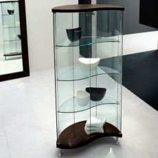Oregina 6418 - Tonin Casa showcase made of wood in wengè colour and glass
