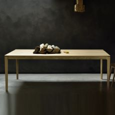 Bok-T - Ethnicraft fixed wooden table, rectangular top, different finishes and sizes available