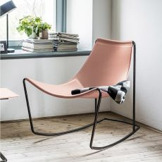 Apelle DN - Midj rocking armchair, made of metal and natural hide, different colours