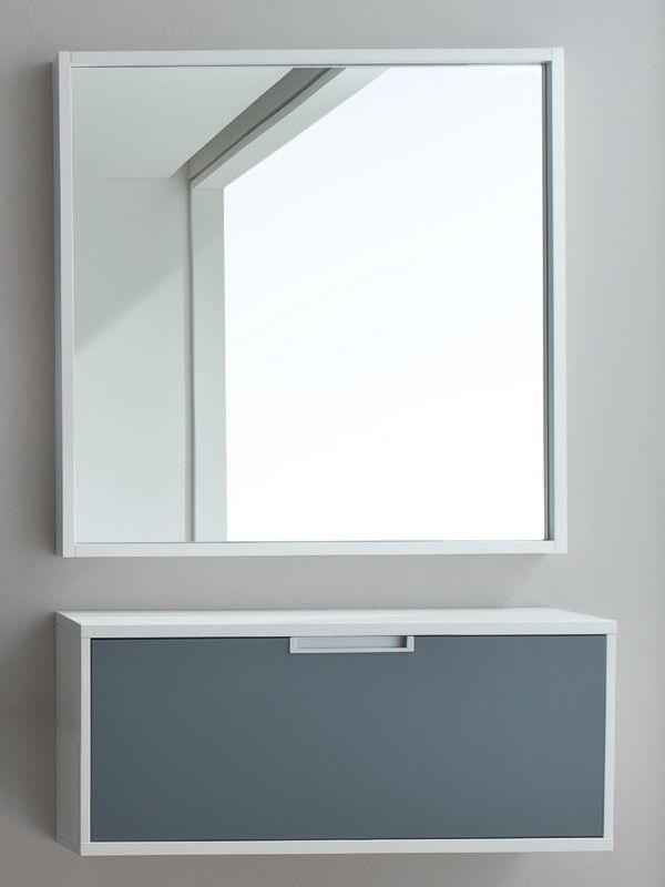Xl350col mueble de entrada suspendido zapatero en for Mueble zapatero gris