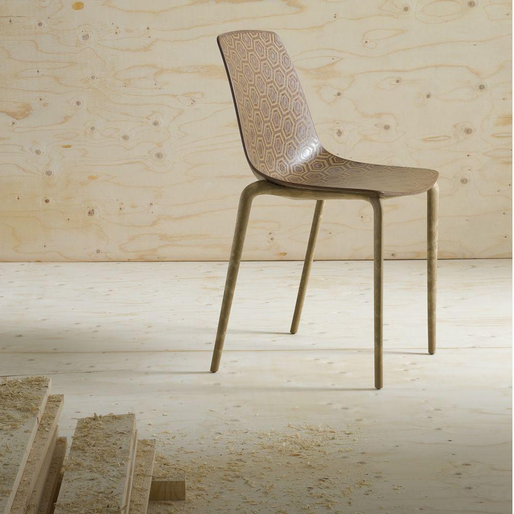 Alhambra eco sedia di design impilabile realizzata in materiale riciclato legno plastica - Sedia di design ...
