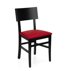 MU212 F - Wooden chair with padded seat, imitation leather covering