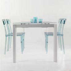 Foglia - Tavolo allungabile Colico Design in alluminio con piano in vetro, rettangolare 160(220)x90 cm