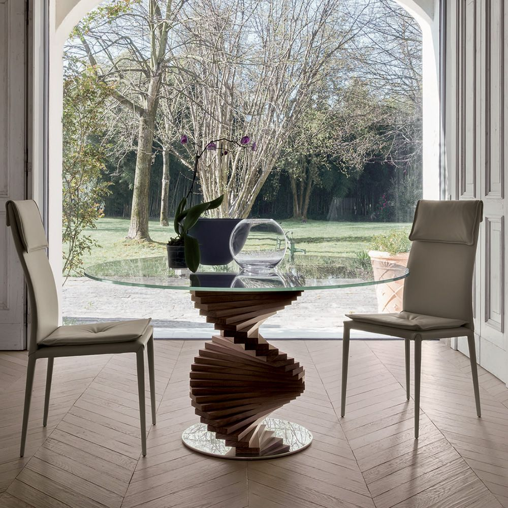 Firenze 8067 Fixed Table Made Of Mdf Cana Walnut Finish With Glass Top