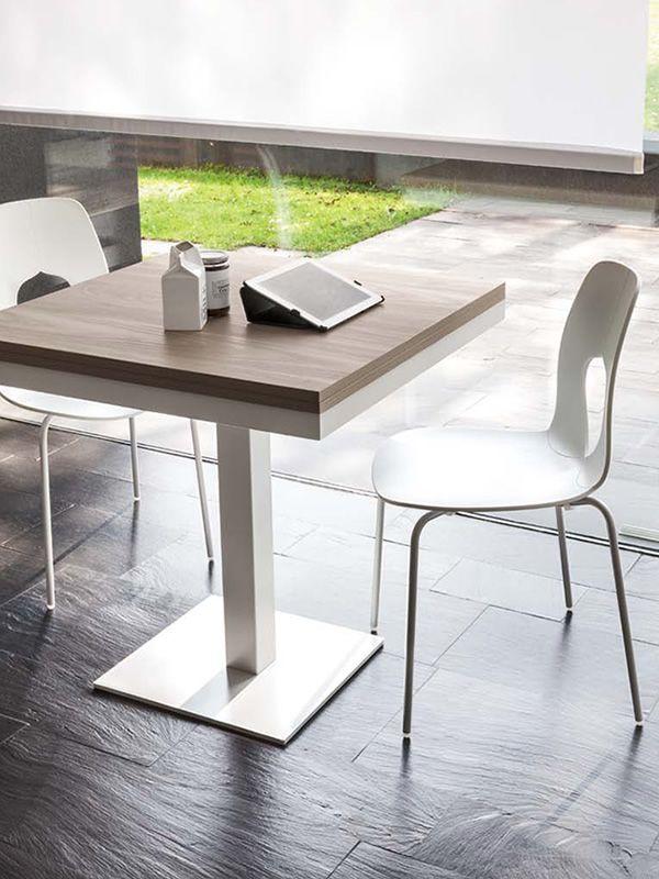 8073 Cub: Table Tonin, pied en métal, 80x80 cm à rallonge ...