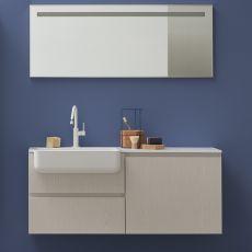 Lapis E - Mobile bagno sospeso con lavabo, cassetti, disponibile in diversi colori