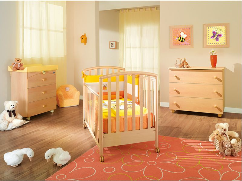 ciak babybett pali aus holz mit schublade lattenrost in der h he verstellbar verschiedene. Black Bedroom Furniture Sets. Home Design Ideas
