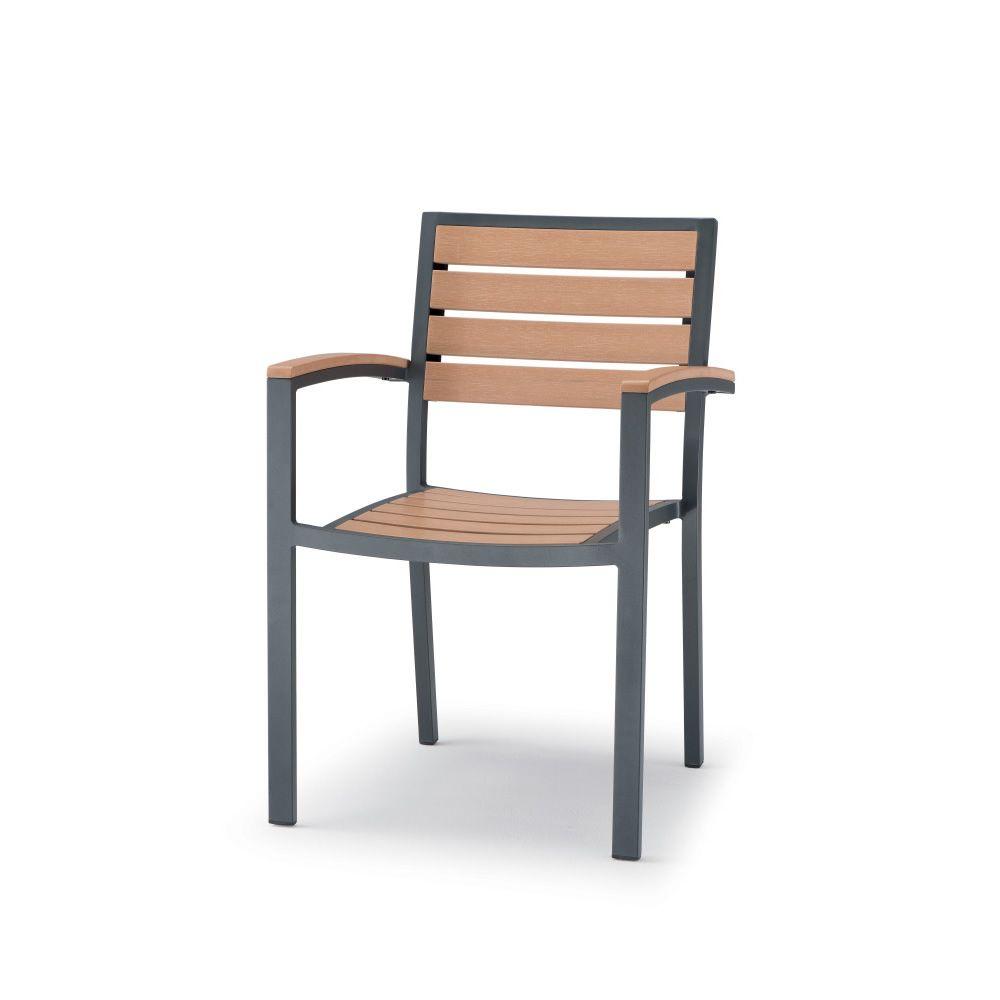 Tt937 sedia con braccioli in alluminio e techno wood for Sedie per esterno