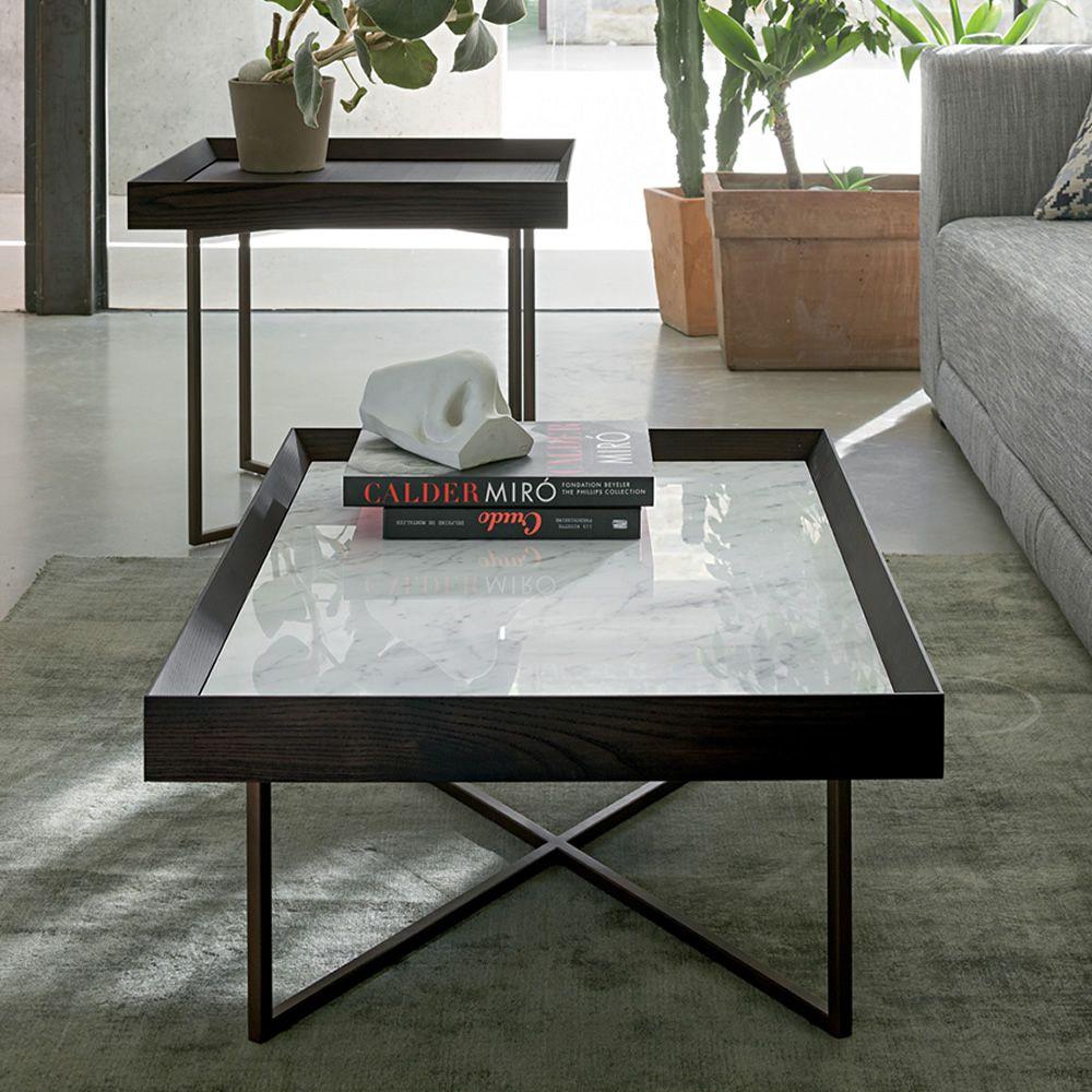 Slash M Dall Agnese Metal Coffee Table Top In Veneered
