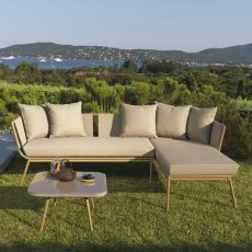 Ally Set - Set design para jardín: sofá con chaise longue y mesita de aluminio 60x60 cms
