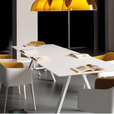 Arki-Table - Tavolo di design Pedrali fisso, in metallo, con piano in stratificato, rettangolare, quadrato o rotondo