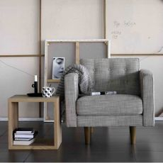 N101-S - Ethnicraft wooden armchair, upholstered with fabric, different colours available