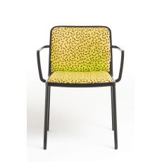 Audrey Soft by Sottsass - designer chair Kartell goes Sottsass series, in aluminum with upholstered seat and backrest, stackable, available in different finishes and fabrics designed by Ettore Sottsass and Nathalie du Pasquier