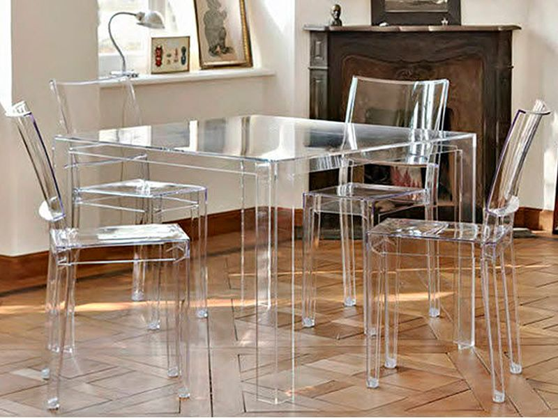 invisible table design kartell table in polymer 100x100 cm height 72 cm also for garden. Black Bedroom Furniture Sets. Home Design Ideas