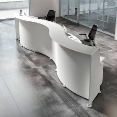 Reception Glass W - Banco per reception da ufficio in legno, top in vetro