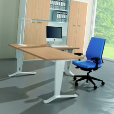 Idea Ypsilon 01 - L-shaped desk for office, with metal frame and laminate top, available in different dimensions and colours