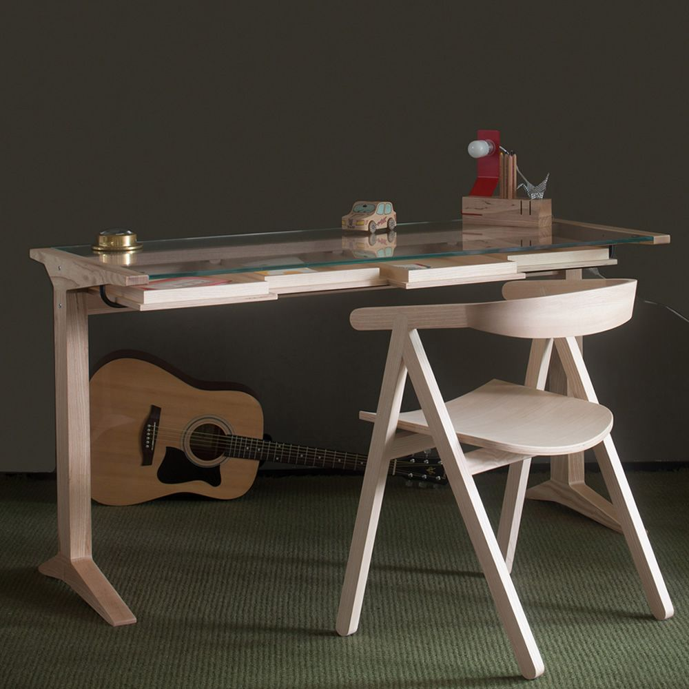 With Leo Writing Desk Made Of Natural Ash Wood Extra Clear Glass Top