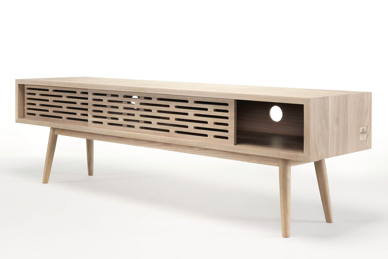 radio meuble tv en bois massif dot de trous passe c bles sediarreda. Black Bedroom Furniture Sets. Home Design Ideas