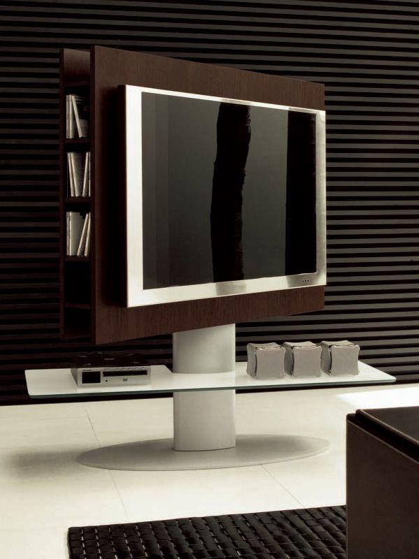Cortes 7095  Mueble para TV de roble oscuro termotratado con base de