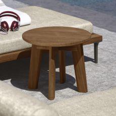 Cleo T3 - Table basse en teak avec plateau ronde de diamètre 35 cm, aussi pour jardin