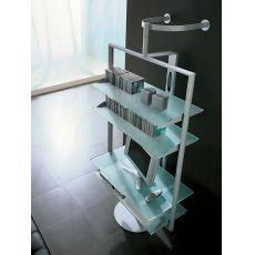 8202 - Porta TV - Hi-Fi orientabile Tonin Casa in alluminio, ripiani in vetro