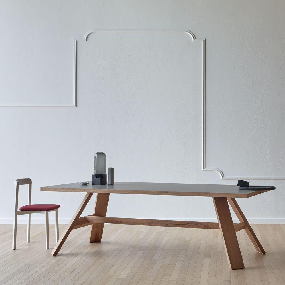 Artigiano | Rectangular table in wood, top in London grey Fenix