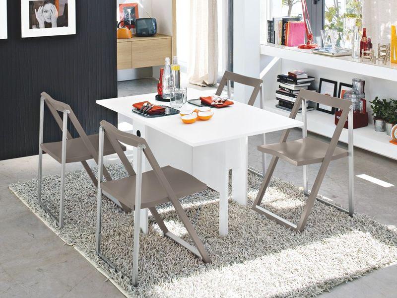 ... CB07 Spazio   Klappbarer Tisch Aus Melamin In Der Farbe Weiss, Mit  Stühle CB207 Skip