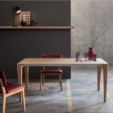 Anassimandro - Mesa shabby chic de madera, 142x85 cms, extensible, disponible en distintos tamaños y acabados
