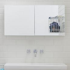 Acqua P - Armoire miroir à suspendre pourvue d'étendoir à linge à l'intérieur, disponible en différentes couleurs