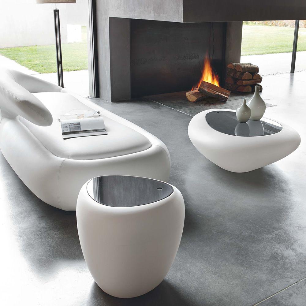 ios 8191 beistelltisch tonin casa aus polyethylen mit beh lter mit platte aus plexiglas oder. Black Bedroom Furniture Sets. Home Design Ideas