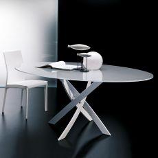 Barone - Tavolo rotondo di design di Bontempi Casa, fisso, diametro 120 cm, con basamento centrale in metallo e piano in vetro o legno, disponibile in diversi colori