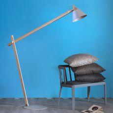 Slope B - Stehlampe Miniforms, aus Holz und Metall, höhenverstellbar