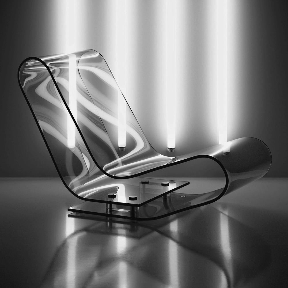Lcp designer chaise longue by kartell in transparent for Chaise longue designer