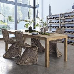 malindi t table en bois de teck avec plateau rectangulaire fixe 220 x 100 cm sediarreda. Black Bedroom Furniture Sets. Home Design Ideas