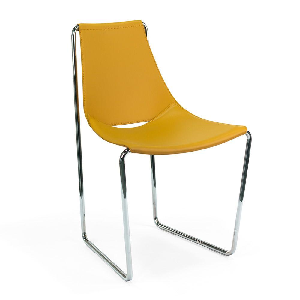 Apelle s chaise midj en m tal et cuir naturel sediarreda - Chaise metal couleur ...