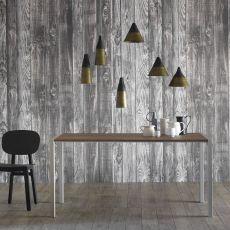 First - Tavolo rettangolare Miniforms in metallo e legno, allungabile, diverse dimensioni disponibili