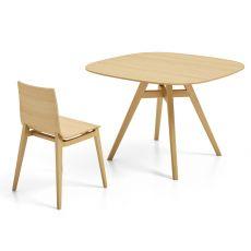 Emma Table - Tavolo fisso Infiniti in legno, piano quadrato, diversi colori e dimensioni