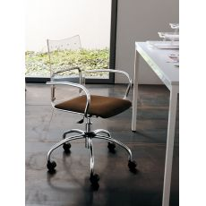 Sinuè - Midj swivel and adjustable metal chair, padded seat and methacrylate backrest, different colours available