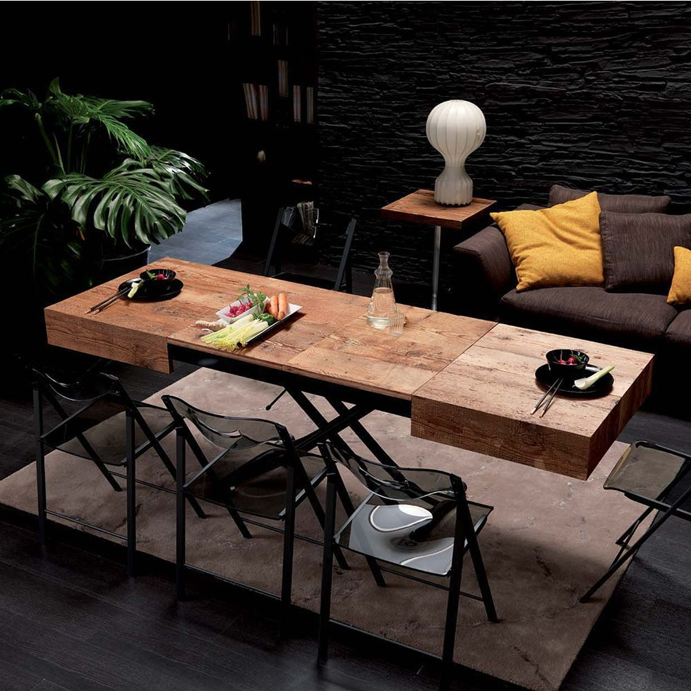 spesso Box legno - Tavolo trasformabile in metallo, piano 120x75 cm  DQ78