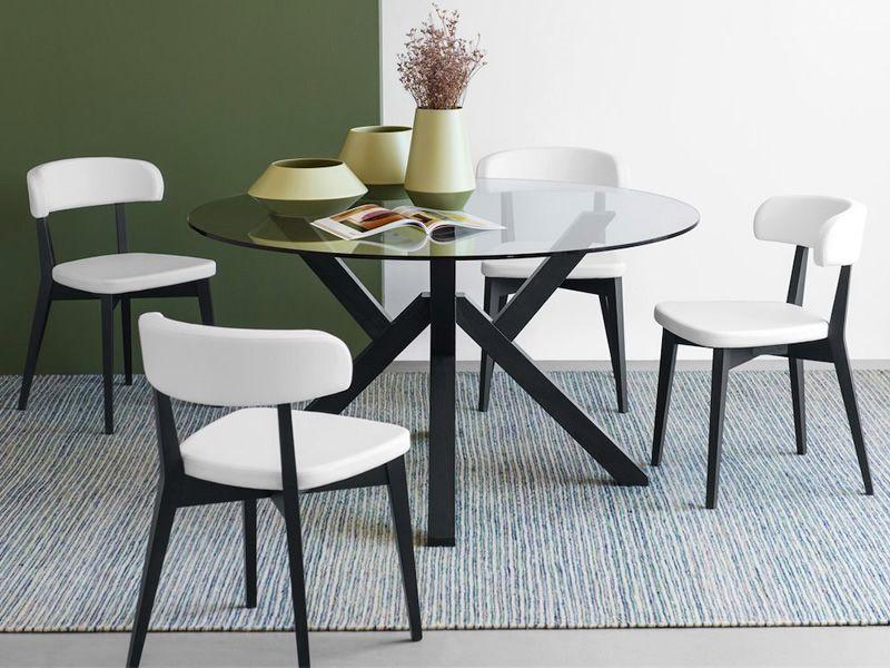Cb4728 mikado tavolo in legno connubia calligaris con piano tondo in vetro diametro 120 o - Dimensioni tavolo tondo 4 persone ...