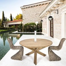 Canyon - Teak table, 160cm diameter round top, also for outdoor