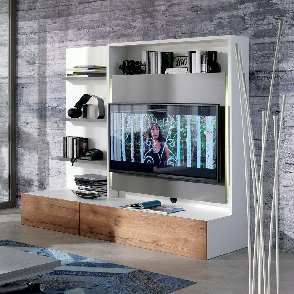 smart living l: holzmöbel für das wohnzimmer, mit 3 fachböden, tv, Wohnzimmer